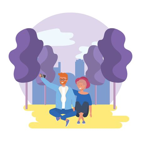 Couple of woman and man in the park design