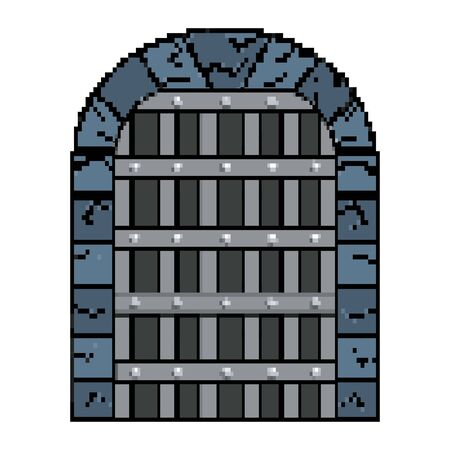 Isolated jail and medieval door  vector illustration
