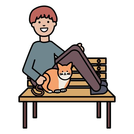 young man with cute cat in the park chair Ilustrace