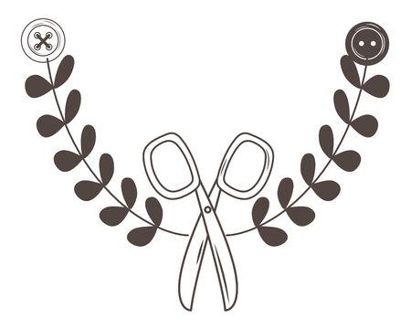 Progettazione di strumenti a forbice, tema di cucito e abbigliamento per sartoria, laboratorio tessile di moda