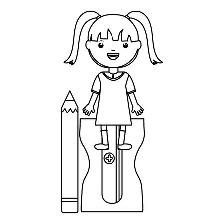 cute little student girl with sharpener and pencil vector illustration design
