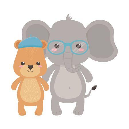 Elephant and bear cartoon design, Animal cute zoo life nature and fauna theme Vector illustration Ilustrace