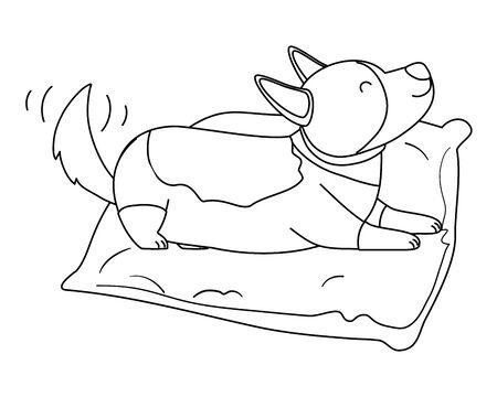 Dog cartoon with pillow design