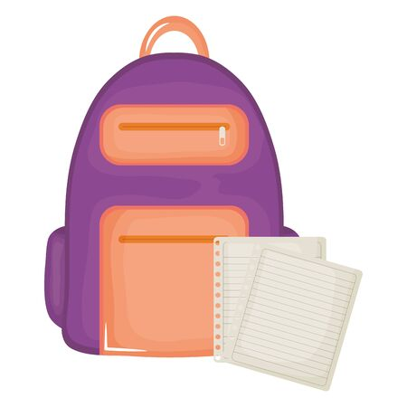 schoolbag with paper sheets supplies
