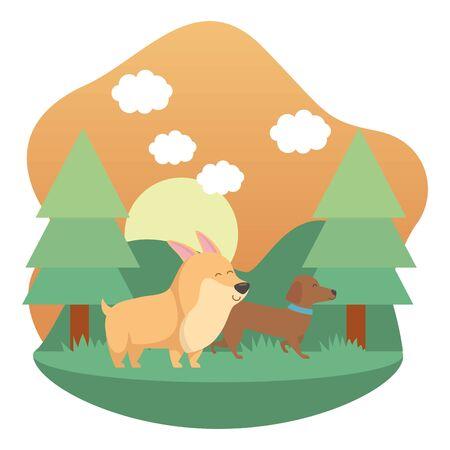 Dogs cartoons design vector illustration