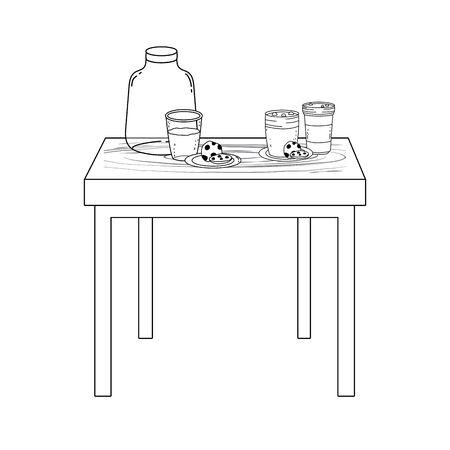 Milk bottle glass and cookie design Stock fotó - 133488726