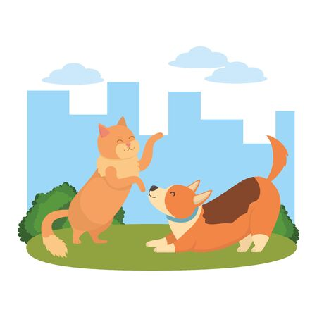 Cat and dog cartoon design Ilustrace