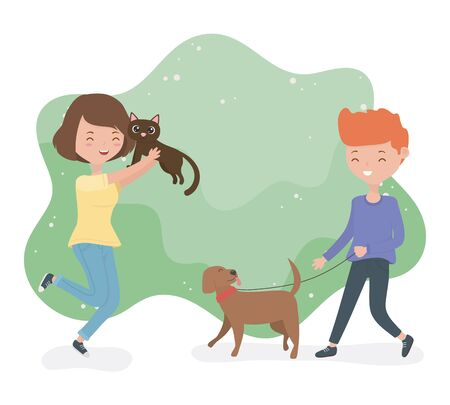 young couple with cute little dog and cat mascots Ilustrace