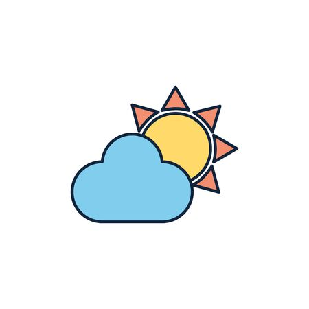 sun and cloud weather summer icon line and fill 일러스트