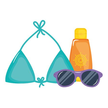 sun blocker with swimsuit female and sunglasses