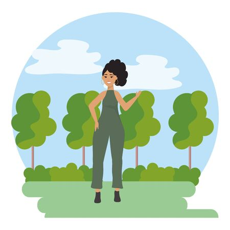 fashion woman and trees design Ilustração