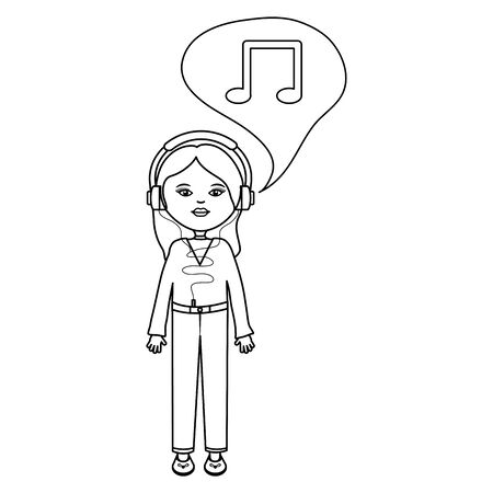 cute woman with earphones listening music and speech bubble