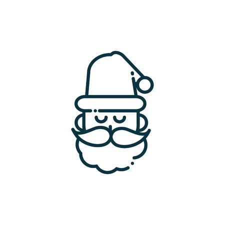 santa claus happy christmas line icon