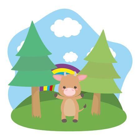 Bull cartoon design vector illustrator