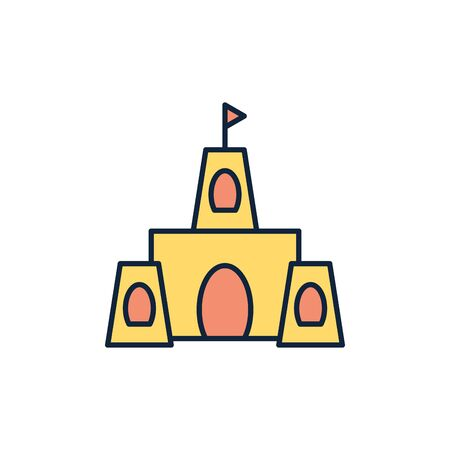 sand castle summer icon line and fill