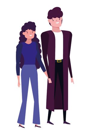Couple of woman and man cartoon design