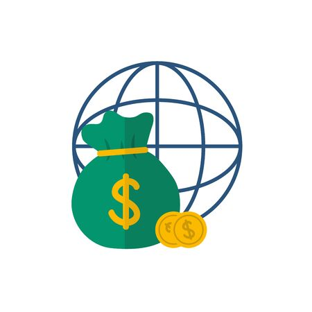 Isolated money bag and coins icon flat vector design