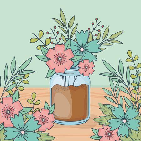 jar with floral decoration in wooden floor Stock Illustratie