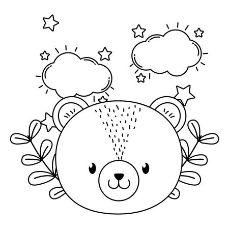 cute animal bear face dreaming with stars and clouds cartoon vector illustration graphic design Foto de archivo - 133488534