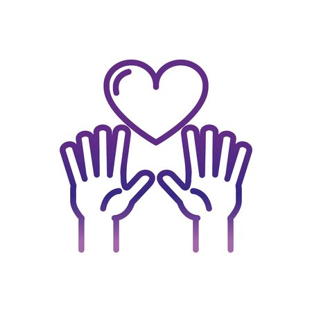 hands with love heart charity help donation gradient line vector illustration