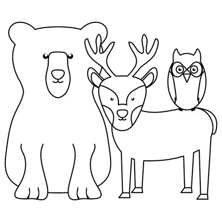 cute bear grizzly with reindeer and owl vector illustration design