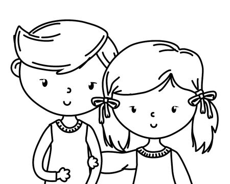 Teenager boy and girl design, person portrait young youth student and teen theme Vector illustration Ilustração