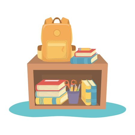 Furniture design, School supply object education study lesson and class theme Vector illustration