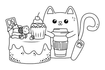 Cat cartoon design, expression cute character funny and emoticon theme Vector illustration Archivio Fotografico - 133488474