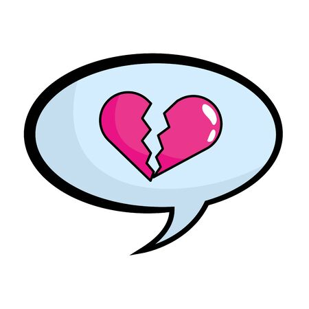 speech bubbles with broken heart pop art comic cartoon vector illustration 일러스트