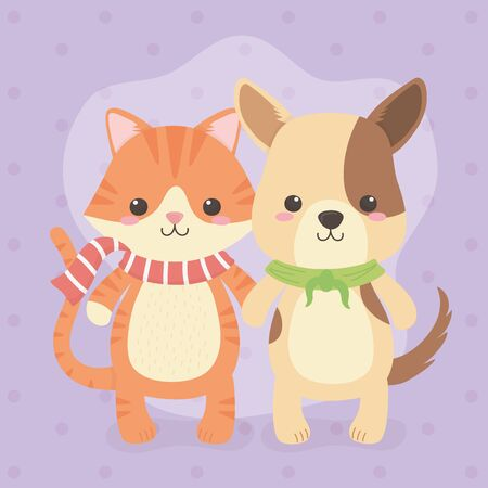 cute and little dog with cat characters vector illustration design Stock fotó - 133488417