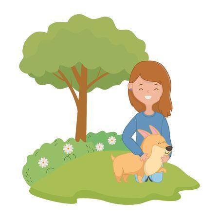 Girl with dog cartoon design, Mascot pet animal nature cute and puppy theme Vector illustration Ilustração