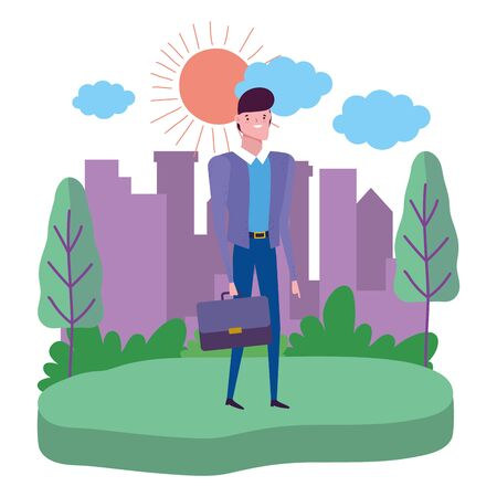 Businessman with suitcase design, Man business management corporate job occupation and worker theme Vector illustration  イラスト・ベクター素材