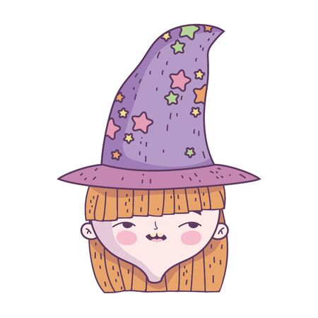 happy halloween celebration girl face with hat costume vector illustration  イラスト・ベクター素材
