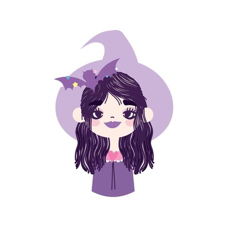 happy halloween celebration girl with hat witch bat vector illustration