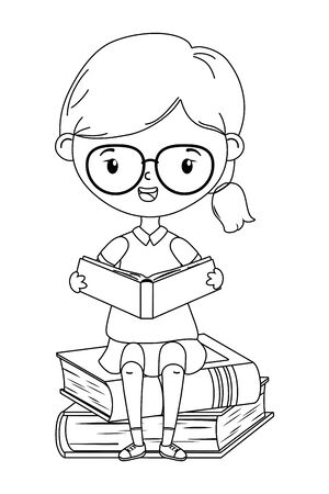 Girl kid design, School education learning knowledge study and class theme Vector illustration Illusztráció