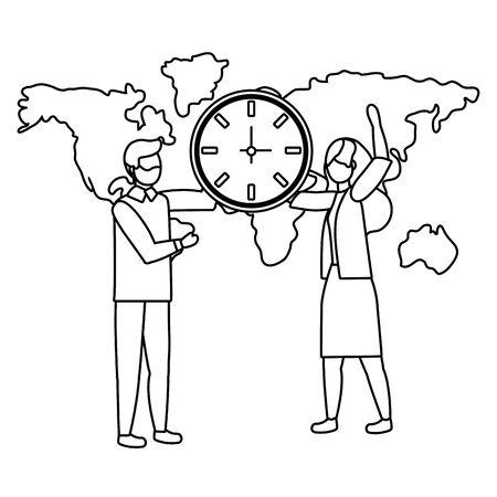 Businessman and businesswoman avatar design vector illustration  イラスト・ベクター素材