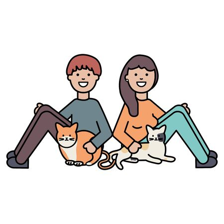 young couple with cute cats mascots Ilustrace