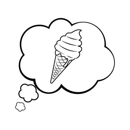 Pop art ice cream cartoon in black and white
