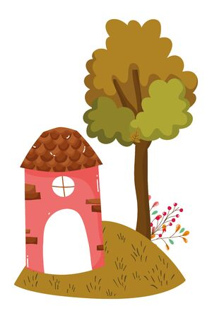 House with tree of fairytale design Ilustrace