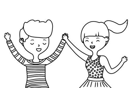 Teenager boy and girl cartoon design