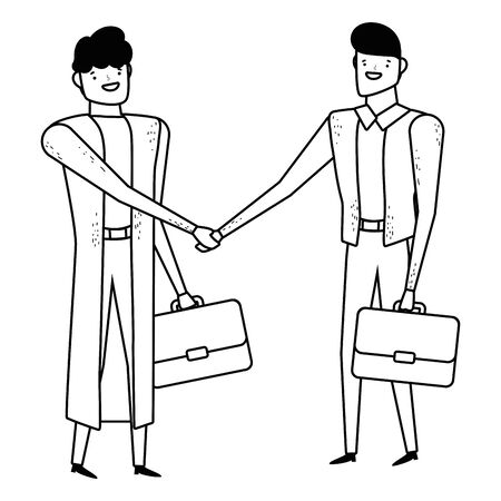 Isolated businessmen with suitcase design