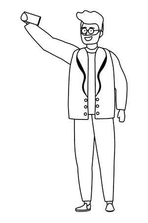 Avatar man with smartphone design Ilustração