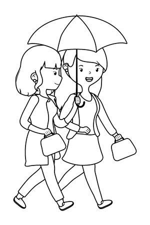 Women cartoons with umbrella design