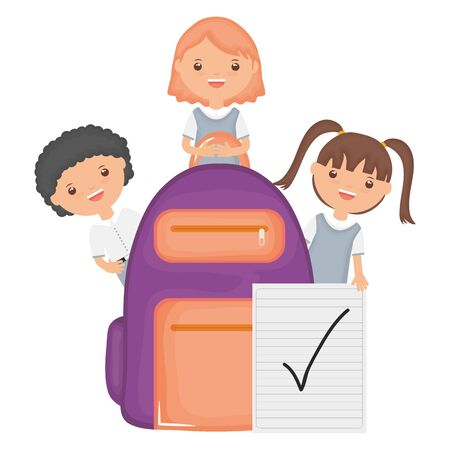 cute little students group with schoolbag and sheet