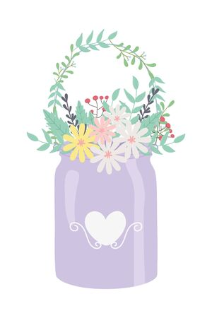 Flowers and leaves inside pot vector design