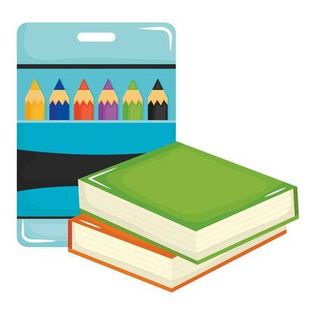 pile text books school and colors pencils box Stock Illustratie