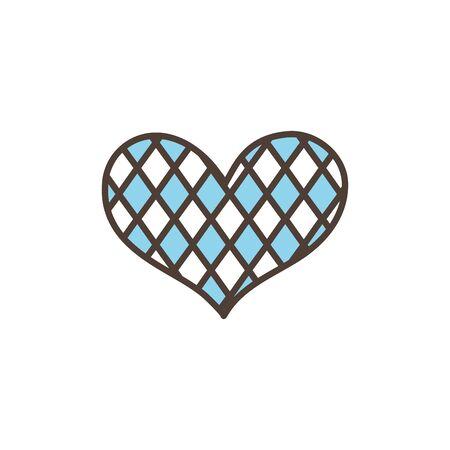 checkered heart oktoberfest icon line filled