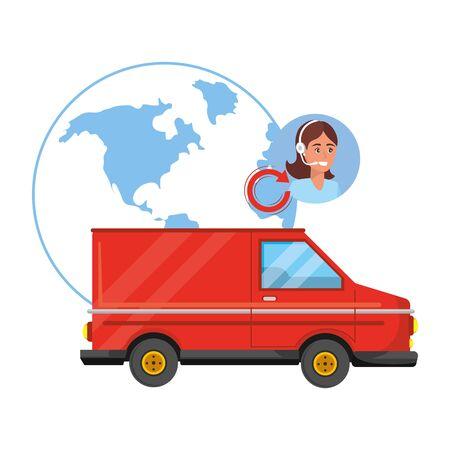 customer support logistics service cartoon