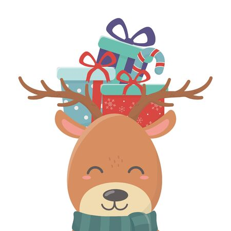 reindeer with gift on head celebration merry christmas Stockfoto - 133488143