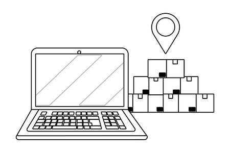 laptop and boxes in black and white Illustration